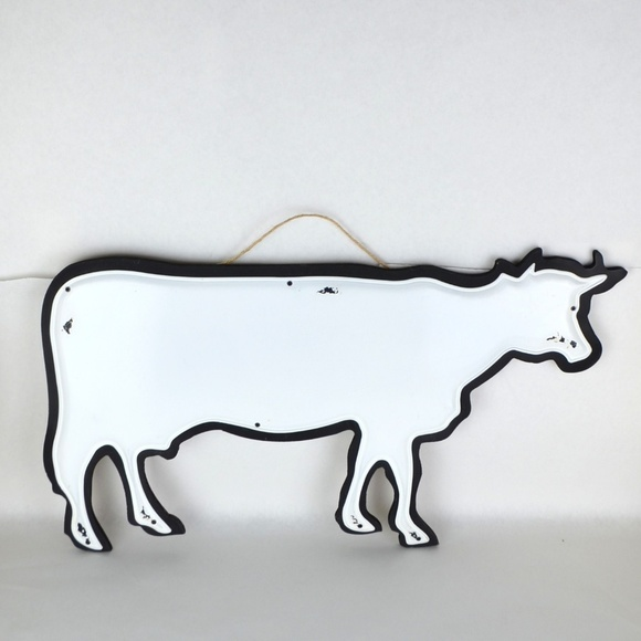 Cow Wall Hanging Black White Board Decor 22x11